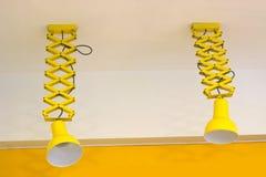 Duas lâmpadas amarelas Imagens de Stock