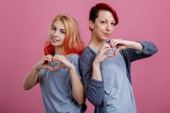 Duas lésbica estão ombro a ombro com mãos no fundo cor-de-rosa imagem de stock