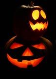Duas lanternas de Halloween Fotos de Stock Royalty Free