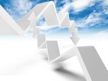 Duas linhas de tendência com setas estão indo para cima e para baixo Imagens de Stock Royalty Free