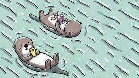 Duas lontras que flutuam na água que guarda o móbil e a tabuleta ilustração royalty free