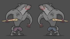 Duas lutas agressivas do homem-lobo Fotos de Stock