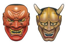 Duas máscaras japonesas tradicionais do teatro feitas da madeira no fundo branco Fotografia de Stock