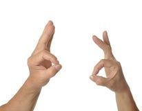 Duas mãos aprovam sinais Imagem de Stock Royalty Free