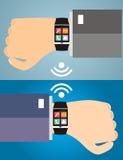 Duas mãos com um relógio esperto que indica ícones de uma Web Conceito de Imagem de Stock