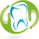 Duas mãos, dente, dentista, logotipo ilustração stock