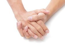 Duas mãos dobradas Fotografia de Stock Royalty Free