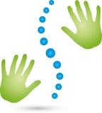 Duas mãos e logotipo da espinha, o ortopédico e da massagem ilustração royalty free