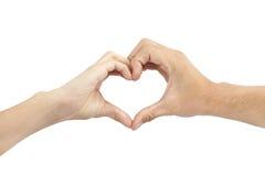Duas mãos fazem a forma do coração Fotos de Stock Royalty Free