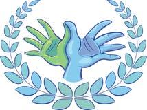 Duas mãos formam um símbolo da pomba circundado com uma grinalda do louro Fotografia de Stock