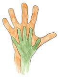 Duas mãos junto Fotos de Stock Royalty Free