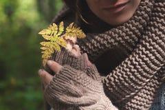 Duas mãos nas luvas que guardam uma folha amarela Fotos de Stock Royalty Free