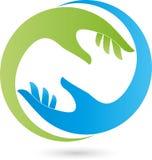 Duas mãos no logotipo verde e azul, ortopédico e do ajudante Foto de Stock Royalty Free