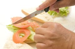 Duas mãos que fazem um sanduíche vegetal Foto de Stock Royalty Free