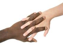 Duas mãos que simbolizam a diversidade do mundo Fotografia de Stock