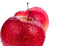 Duas maçãs vermelhas molhadas isoladas no fundo branco Imagem de Stock