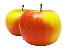 Duas maçãs Vermelho-Amarelas com pingos de chuva (trajeto incluído) fotos de stock