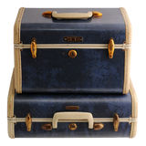 Duas malas de viagem azuis do vintage Imagens de Stock Royalty Free