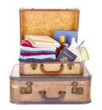 Duas malas de viagem do vintage embaladas Imagem de Stock