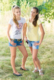 Duas meninas adolescentes na natureza Fotos de Stock
