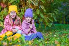 Duas meninas adoráveis fora na floresta do outono Fotos de Stock Royalty Free