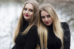 Duas meninas bonitas com cabelo louro Fotografia de Stock