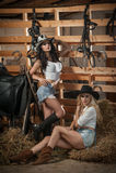 Duas meninas bonitas, louro e morena, com olhar do país, dispararam dentro no estilo estável, rústico Mulheres atrativas com chap fotos de stock royalty free