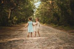 Duas meninas bonitas que andam nas madeiras Imagem de Stock