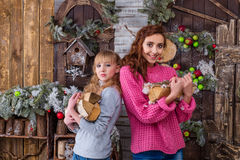 Duas meninas bonitas que levantam em decorações do Natal Fotos de Stock