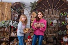 Duas meninas bonitas que levantam em decorações do Natal Fotografia de Stock
