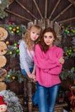 Duas meninas bonitas que levantam em decorações do Natal Fotos de Stock Royalty Free