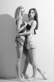 Duas meninas bonitas românticas 'sexy' da forma nas calças de brim Fotografia de Stock