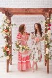 Duas meninas bonitas vestiram-se nos vestidos do verão que levantam perto de um arco da flor com vidros do vinho tinto nas mãos Imagens de Stock