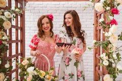Duas meninas bonitas vestiram-se nos vestidos do verão que levantam perto de um arco da flor com vidros do vinho tinto nas mãos Fotografia de Stock Royalty Free