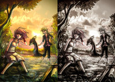 Duas meninas bonitos da fantasia que descansam no beira-rio depositam Imagem de Stock