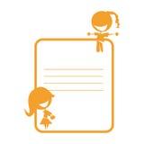 Duas meninas bonitos em uma etiqueta do schoolbook Imagens de Stock