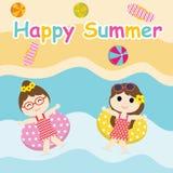 Duas meninas bonitos jogam com anel da nadada nos desenhos animados da praia, no cartão do verão, no papel de parede, e no cartão ilustração royalty free