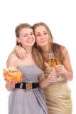 Duas meninas comemoram o Natal Imagem de Stock