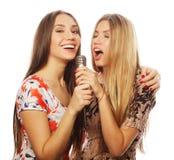 Duas meninas da beleza com um microfone que cantam e que têm o divertimento imagens de stock royalty free