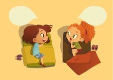 Duas meninas da escola que falam entre si e tempo duaring de tagarelice da sesta no quarto Bolha do discurso Dizer de duas menina ilustração stock