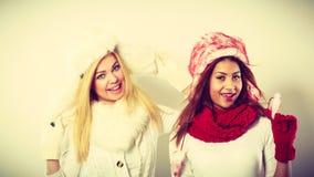Duas meninas de sorriso na roupa morna do inverno Foto de Stock Royalty Free