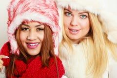 Duas meninas de sorriso na roupa morna do inverno fotos de stock royalty free