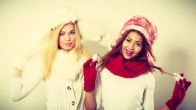 Duas meninas de sorriso na roupa morna do inverno Imagem de Stock Royalty Free