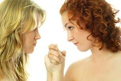 Duas meninas discutem foto de stock