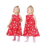 Duas meninas do gêmeo idêntico na vista dos vestidos do vermelho foto de stock