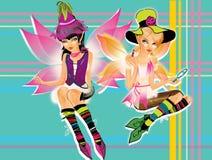 Duas meninas extravagantes do duende Foto de Stock Royalty Free