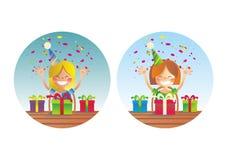 Duas meninas felizes na festa de anos ilustração do vetor