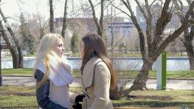 Duas meninas louras e morenos bonitas encontram-se para uma caminhada no parque Alegria, riso, sorrisos e bolsa de estudo Dizem video estoque