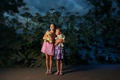Duas meninas na floresta no nighttime Fotografia de Stock Royalty Free