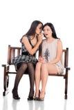 Duas meninas no banco Fotos de Stock